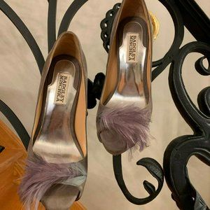 Badgley-Mischka-Ginnie-GRAY-Open-Toe-Pump - Sz 6.5